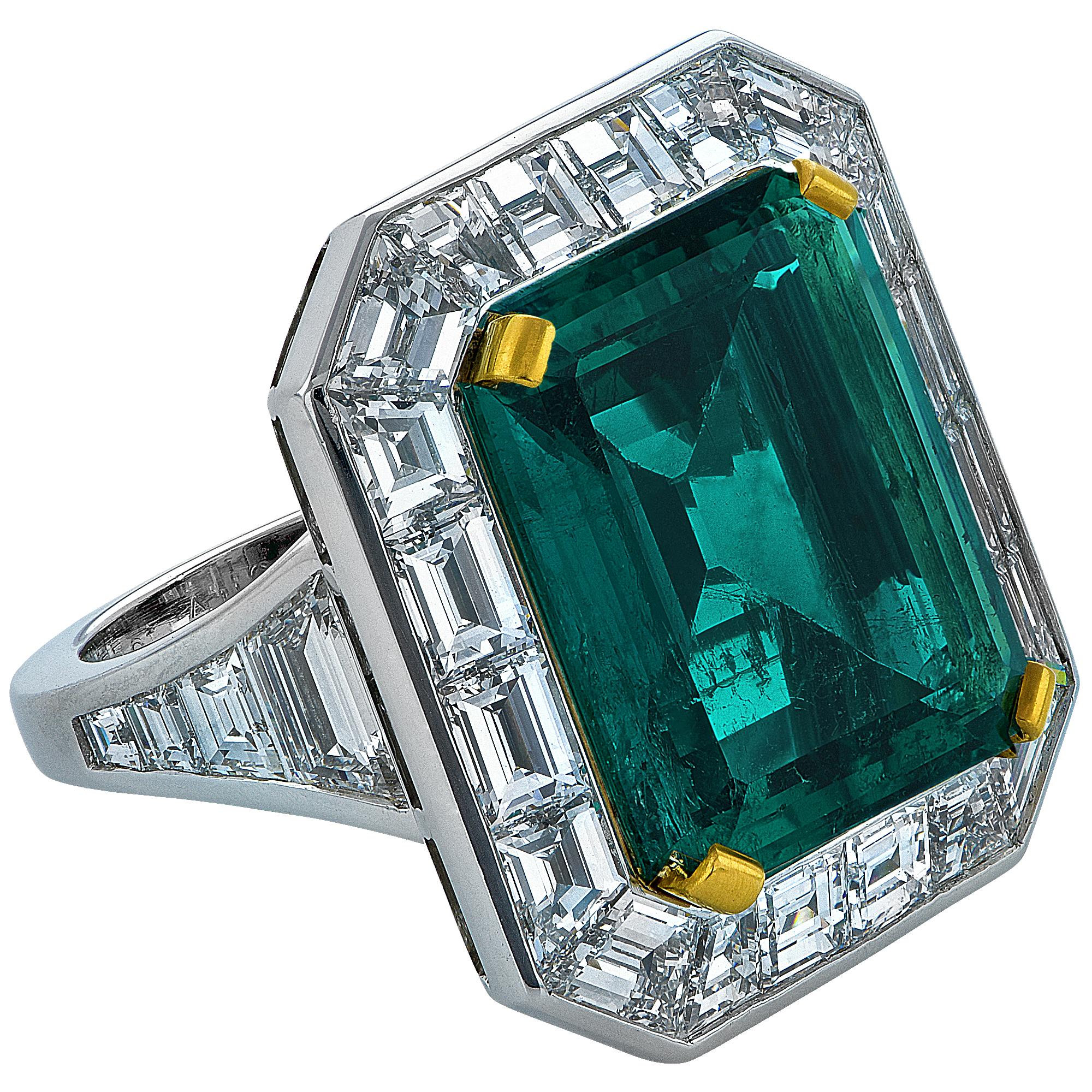 "Image of ""Platinum & 10.10ct Colombian Emerald & Diamond Ring Size 6.25"""