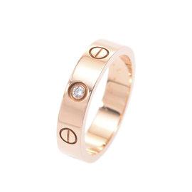 Cartier Mini Love 18K Pink Gold & Diamond Ring Size 4.5