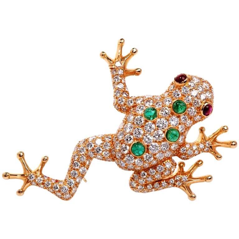 "Image of ""Oscar Heyman Diamond & Ruby Frog 18K Yellow Gold Pin Brooch"""