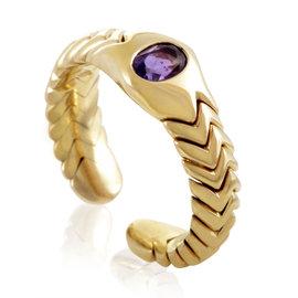 Bulgari 18K Yellow Gold Amethyst Spiga Ring Size 4.25