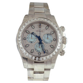 Rolex Daytona 116576TBR Platinum & Baguette Diamond 40mm Watch