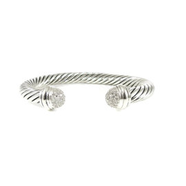 David Yurman Sterling Silver 0.35ct Pave Diamond Dome Cable Bracelet