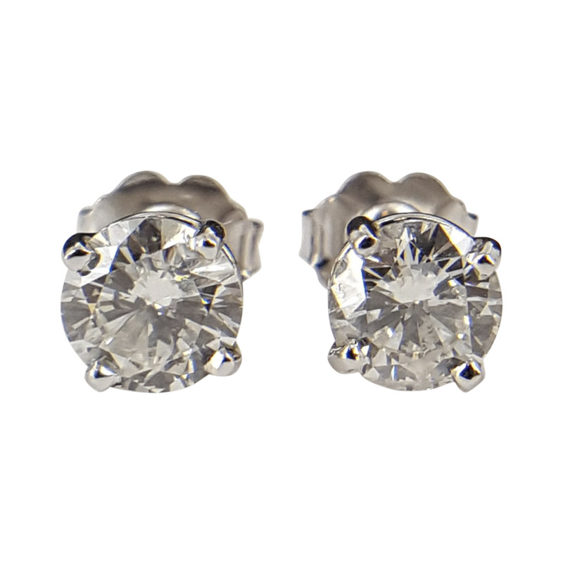 "Image of ""14K White Gold Round Diamond Earring Set"""