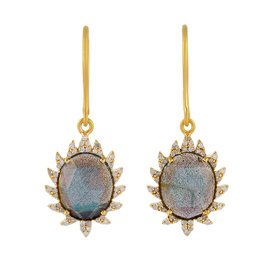 18K Gold & Sterling Silver Labradorite & Diamonds Earrings