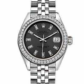Rolex Datejust Stainless Steel with Custom Bezel and Gray Dial 36mm Mens Watch