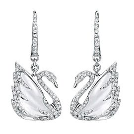 Swarovski 18K White Gold with Quartz and Diamond Swan Earrings