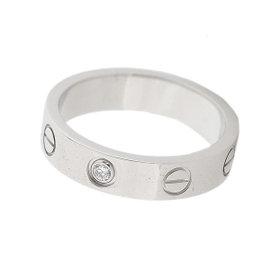Cartier Mini Love 18K White Gold Diamond Ring Size 4