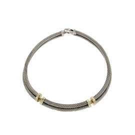 David Yurman 925 Sterling Silver & 14K Yellow Gold Double Cable Choker Necklace