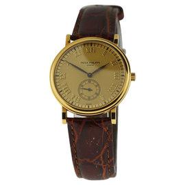 Patek Philippe Calatrava 5022J 18K Yellow Gold & Leather 33mm Watch