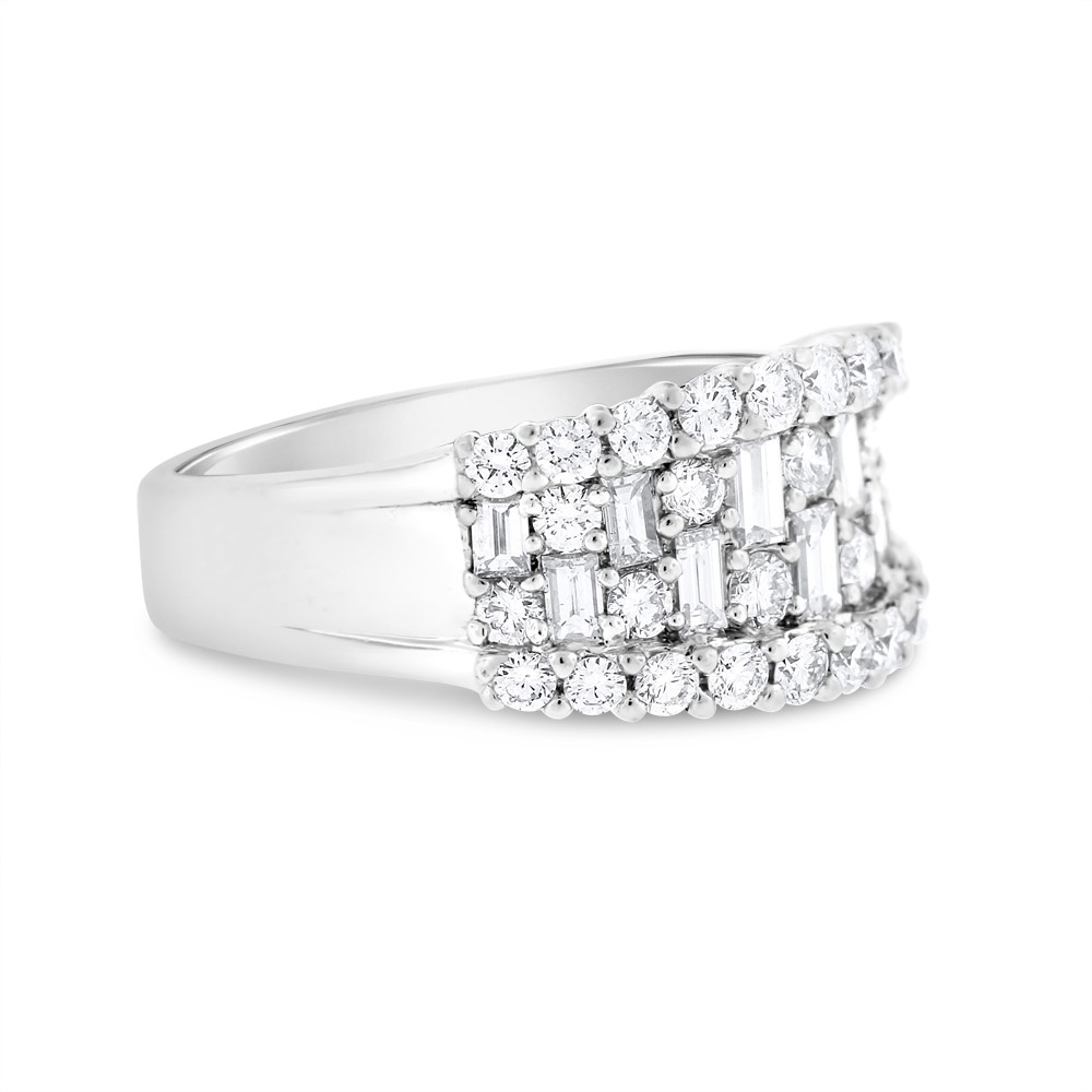 """Image of """"18k White Gold 2.00ct. Diamond Baguette & Round Illusion Band Size"""""""