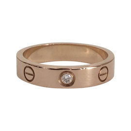 Cartier 18k Rose Gold with Diamond Love Wedding Band Ring Size 5.75