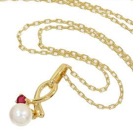 Mikimoto 18K Yellow Gold Pearl And Ruby Necklace
