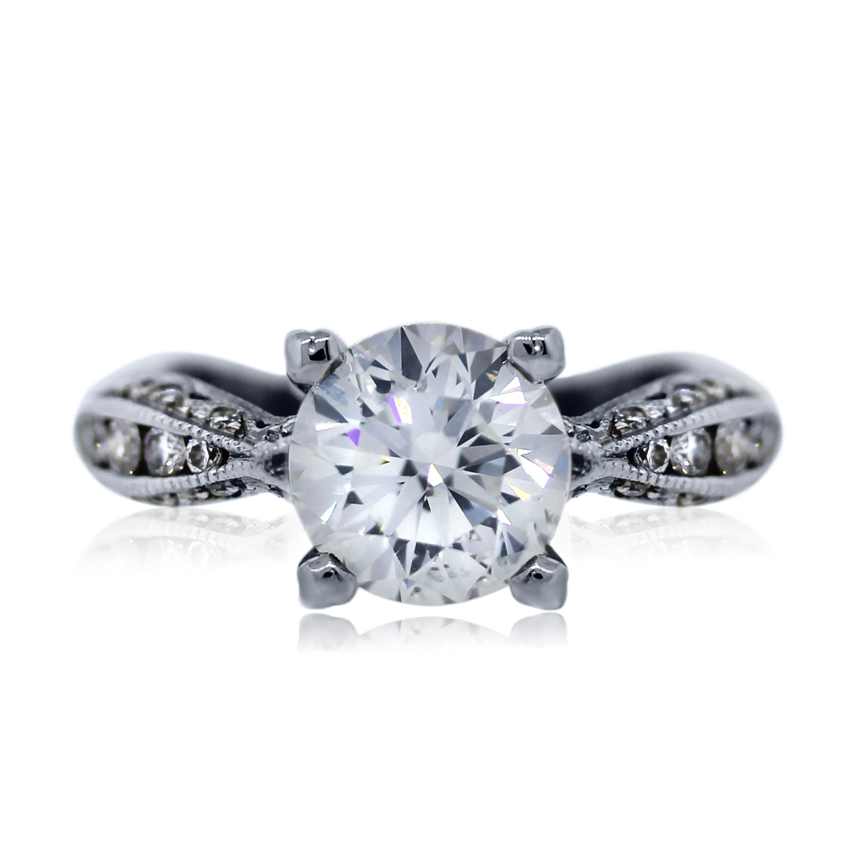 "Image of ""Tacori 18K White Gold 1.95ct Diamond Engagement Ring Size 4.75"""