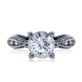 Tacori 18K White Gold 1.95ct Diamond Engagement Ring Size 4.75