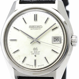 Seiko Grand Seiko 6145-8000 Stainless Steel and Leather Automatic 37mm Mens Watch