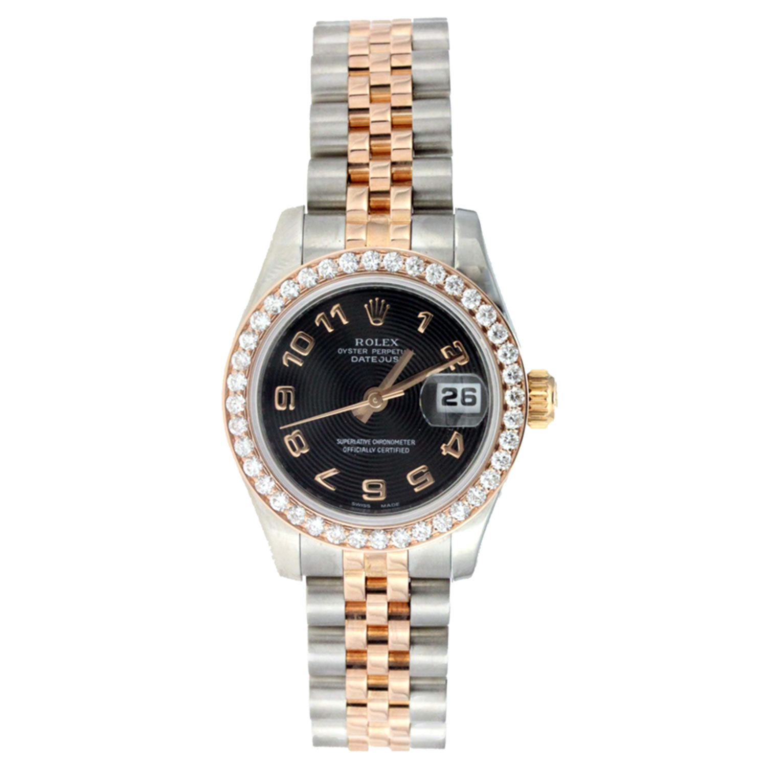 "Image of ""Rolex Date Just Lady Steel and Rose Gold with Diamond Bezel"""