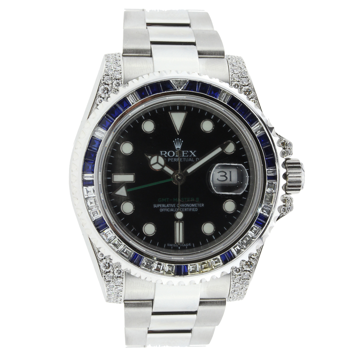 """Image of """"Rolex GMT Master II Stainless Steel with Diamonds and Sapphires"""""""