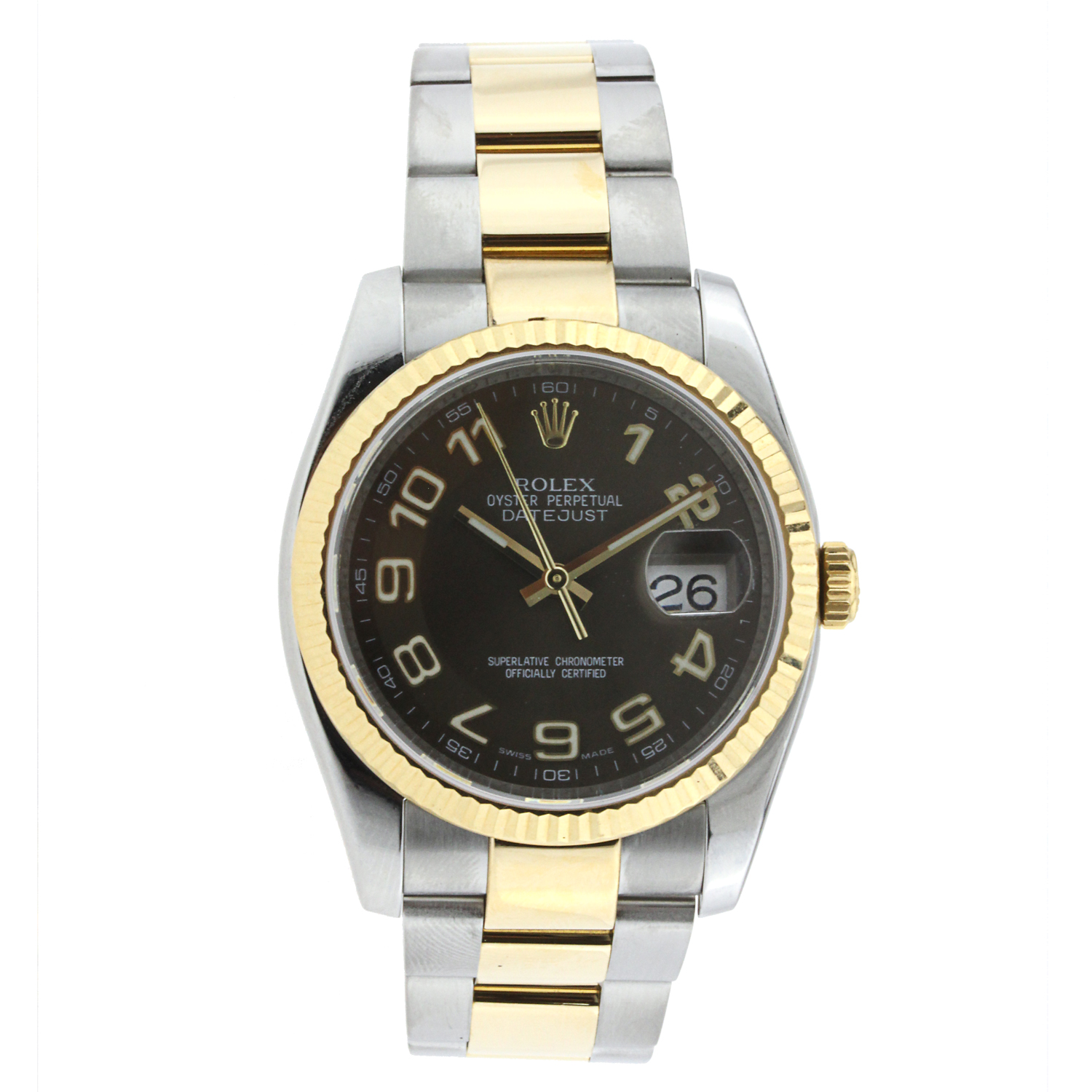 """Image of """"Rolex Brown Dial Datejust 36Mm Stainless Steel and Yellow Gold"""""""