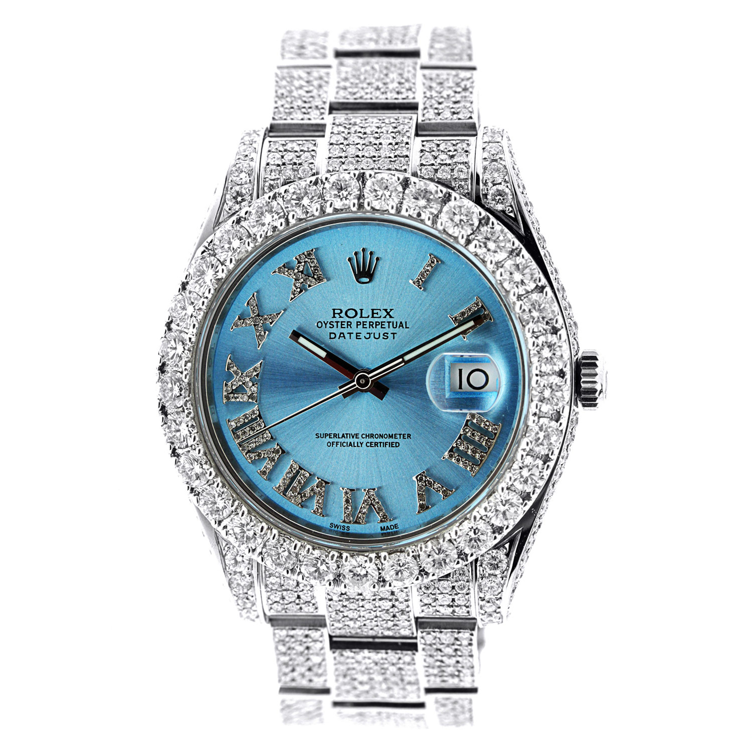 "Image of ""Rolex Date Just II Stainless Steel with Diamonds"""
