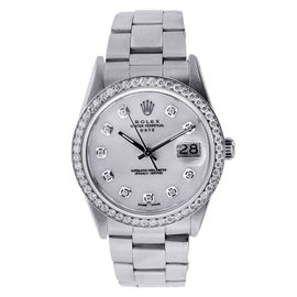 Vintage Rolex Date 34MM Watch Stainless Steel with Diamonds