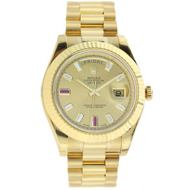Rolex Day Date II President Yellow Gold with Diamond and Ruby Dial - 218238