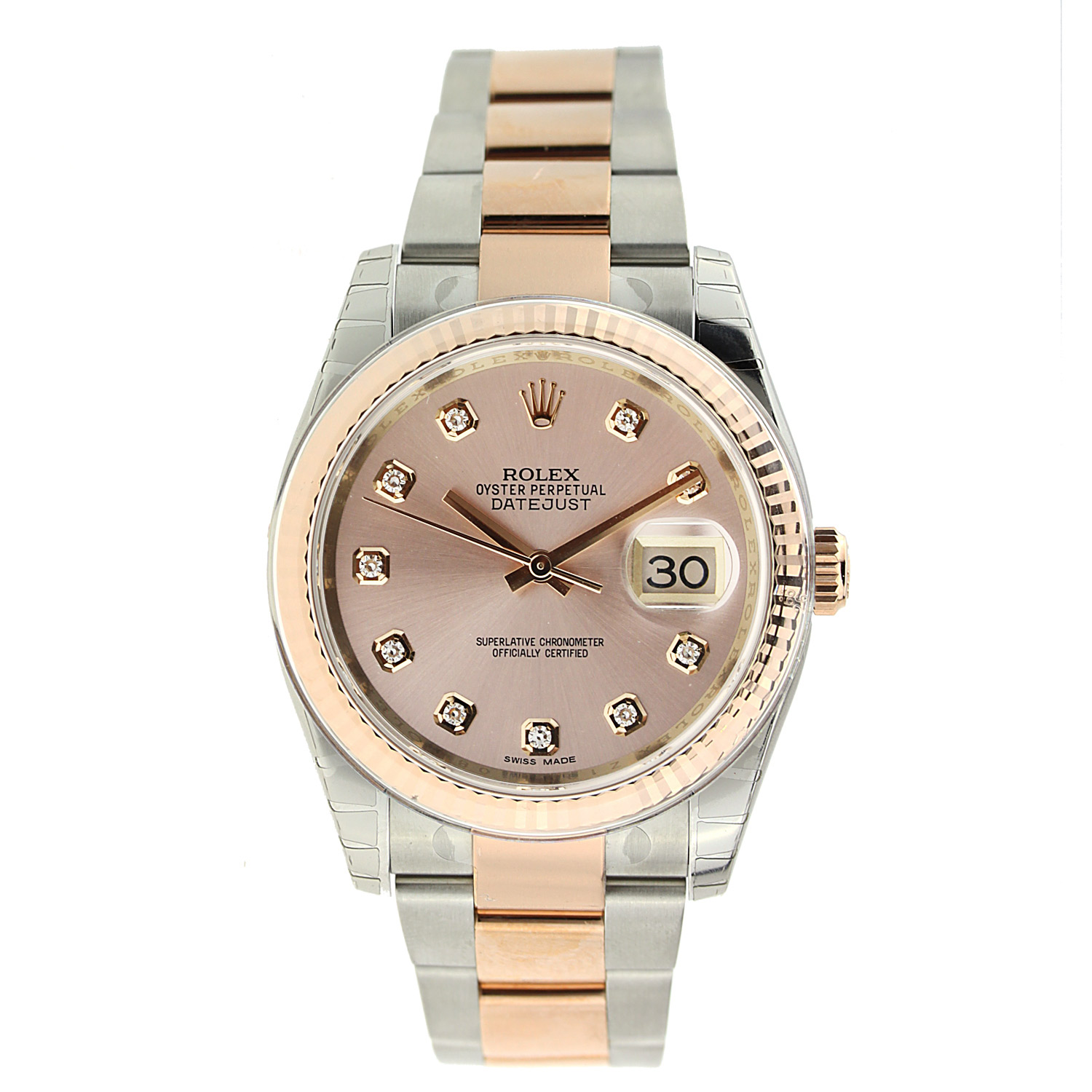 """Image of """"36Mm Datejust Rolex with Rose Gold & Stainless Steel with Diamond Dial"""""""