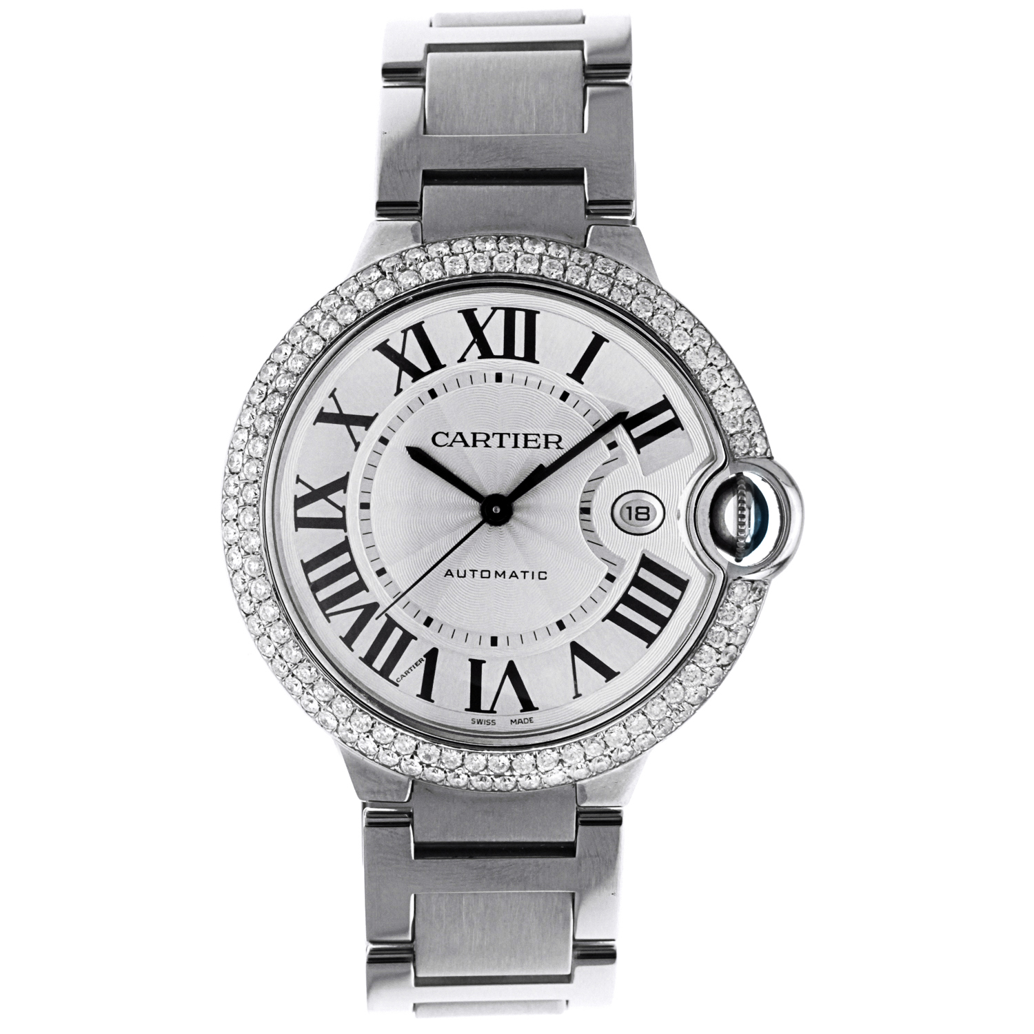 Cartier Ballon Bleu Stainless Steel with Diamonds