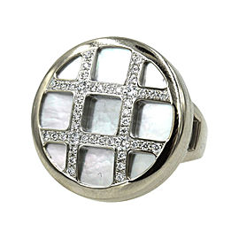 Cartier Pasha 18K White Gold Diamond Mother of Pearl Grid Ring Size 6