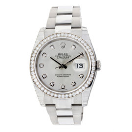 Rolex Datejust Oyster Stainless Steel with White Gold & Diamond Bezel 36mm
