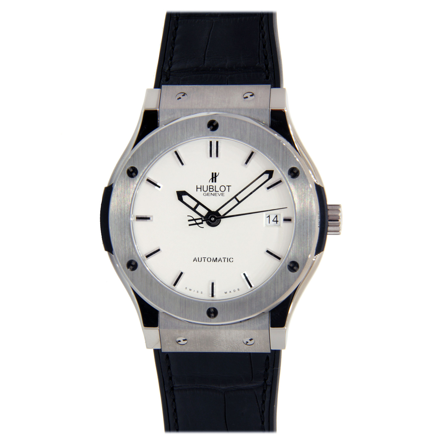 """Image of """"Hublot Classic Fusion Stainless Steel with Leather Strap 42mm"""""""