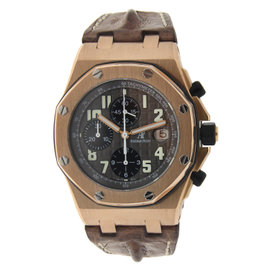 Audemars Piguet Royal Oak Offshore 18K Rose Gold with Brown Strap 46mm