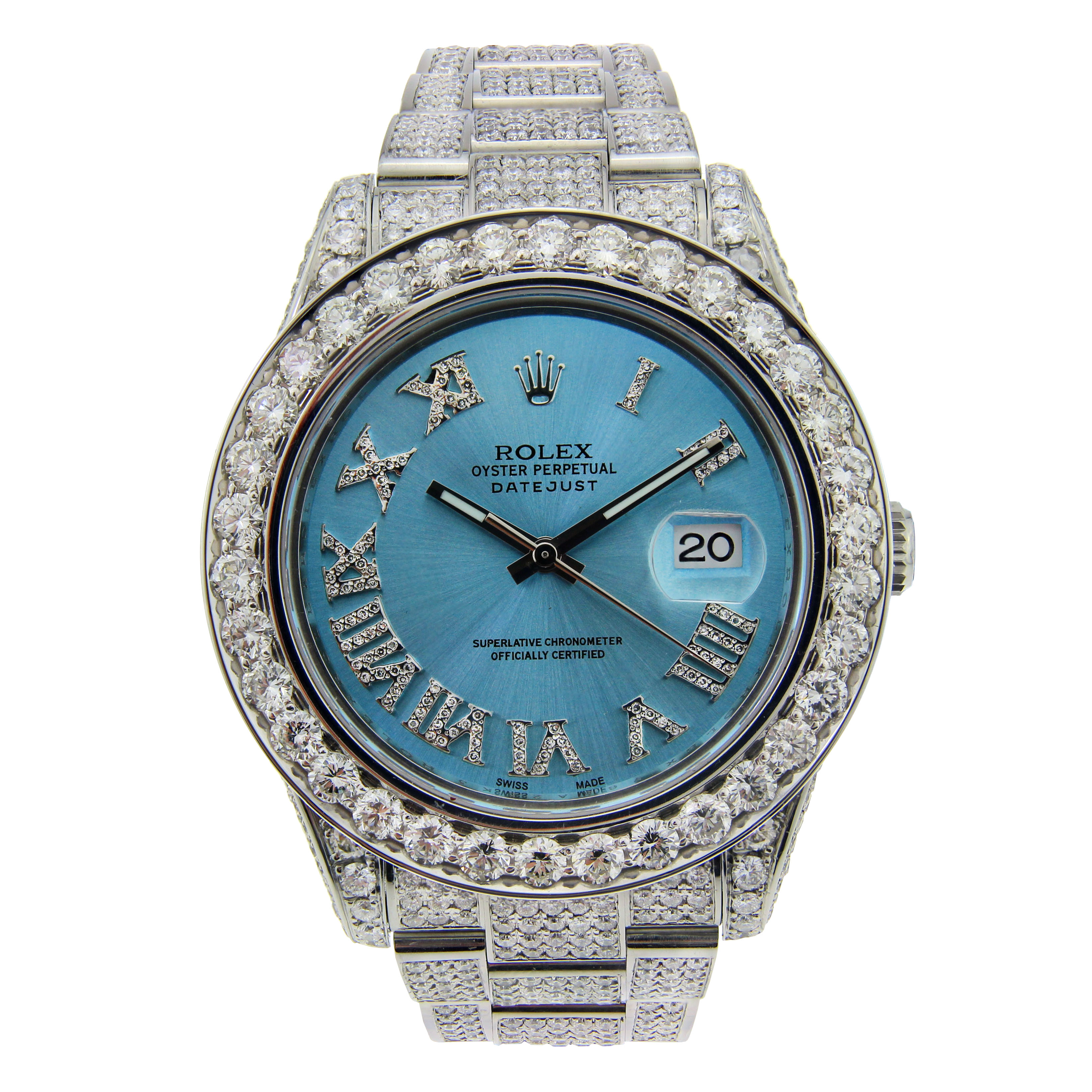 "Image of ""Rolex Datejust II Stainless Steel with Diamonds & Ice Blue Dial 41mm"""