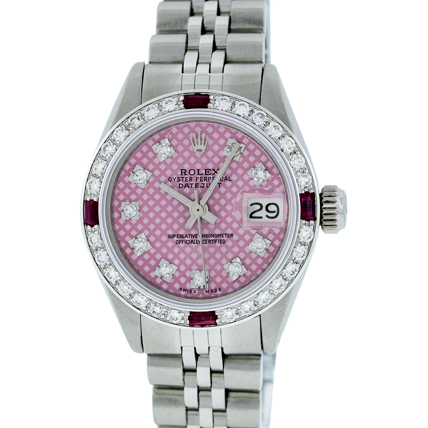"Image of ""Rolex Datejust Stainless Steel & 18K White Gold Diamond & Ruby 26mm"""