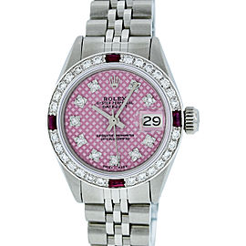 Rolex Datejust Stainless Steel & 18K White Gold Diamond & Ruby 26mm Watch