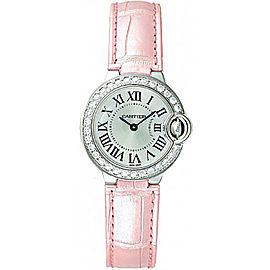 Cartier Ballon Bleu de Cartier 18K White Gold & Leather 28.6mm Womens Watch