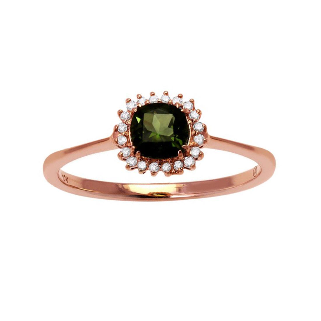 """Image of """"10K Rose Gold Green Tourmaline & .08ct Diamond Ring Size 7"""""""