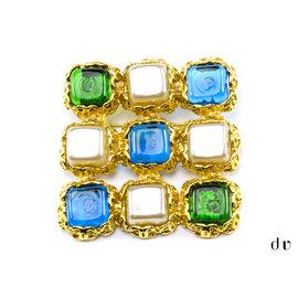 Chanel Goldtone Vintage Blue Green Square Gripoix Brooch