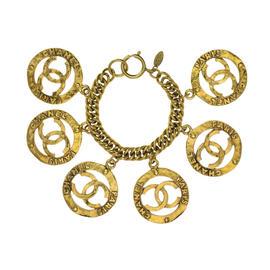 Chanel Gold Tone CC Vintage Charm Bracelet