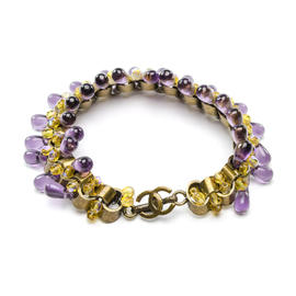 Chanel Gold Tone and Purple Teardrop Glass CC Bracelet