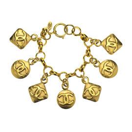 Chanel Gold Tone CC Logo Charm Bracelet