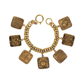 Chanel Gold Tone Vintage Astrology Charm Bracelet