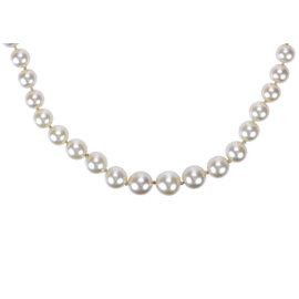 Chanel Silver Tone Metal Ivory Faux Pearl Long Necklace