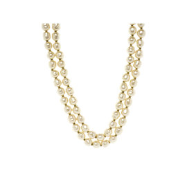 Chanel Faux Pearl Ivory Double Strand Necklace