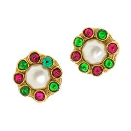 Chanel Gripoix Faux Pearl Clip On Earrings