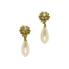 Chanel Camellia Gold-Tone Floral Teardrop Pearl Earrings