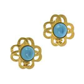 Chanel Turquoise Floral Earrings