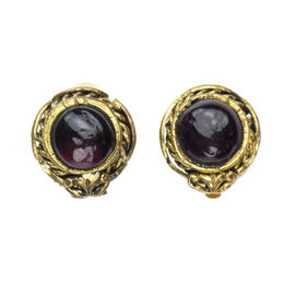 Chanel Glass Button Earrings