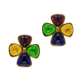 Chanel Gripoix Clover Earrings