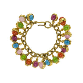 Chanel Gold Tone Multicolored Gripoix Charm Bracelet