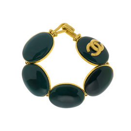 Chanel Gold Tone and Green Stone Vintage CC Logo Bracelet